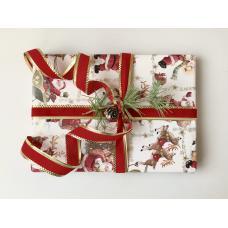 Подарочная упаковка с Дедом Морозом и красной лентой. Размер маленький 15*16 см фото