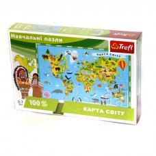 Навчальні пазли. 100 елементів. Карта Світу (укр) фото