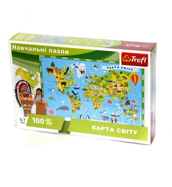 Навчальні пазли. 100 елементів. Карта Світу (укр)