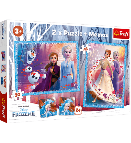 Пазлы. 2в1+ игра Мемо. Холодное сердце 2. Анна и Эльза